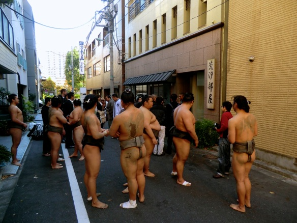 Warriors — outside a sumo stable in Ningyo-cho